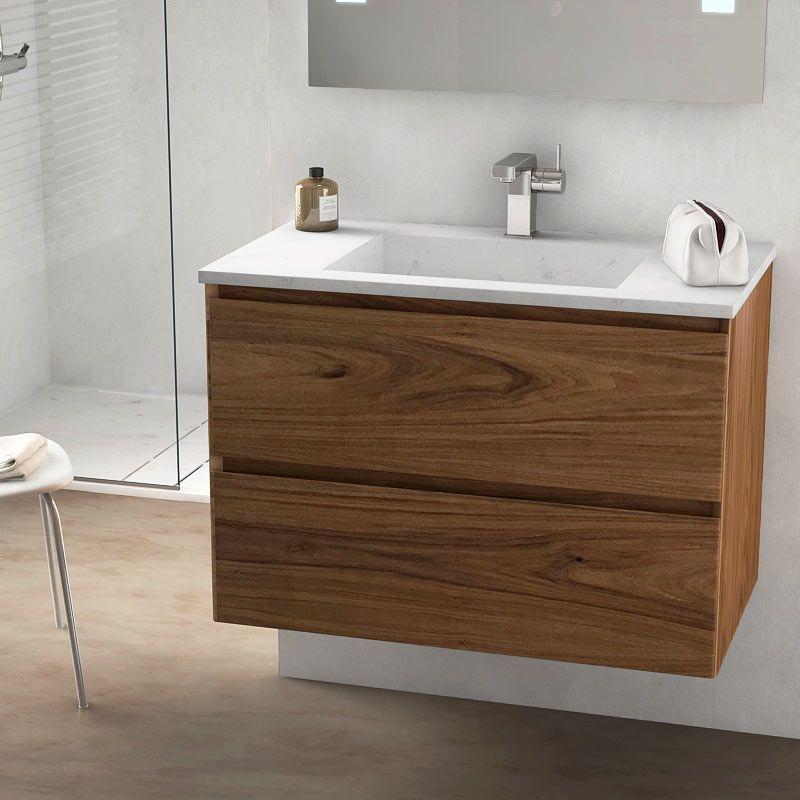 Cordoue meuble salle de bain bois noyer 81 cm vasque pierre 2