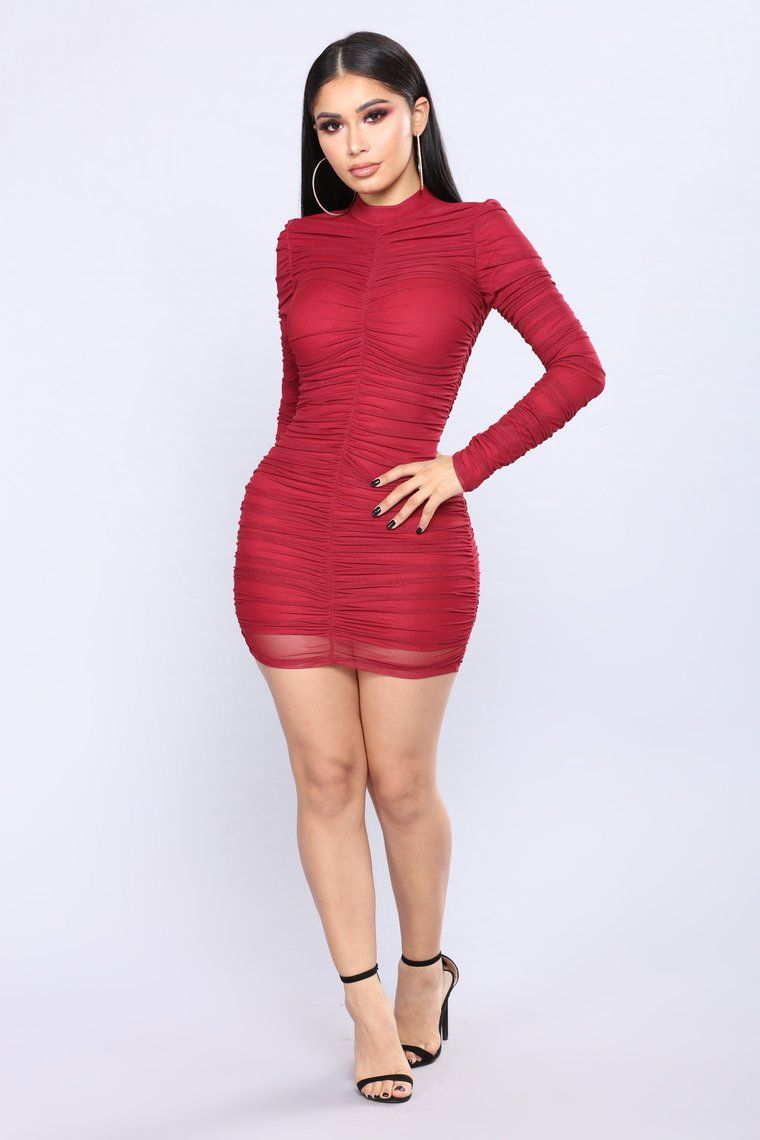 8196a24eeafb Paparazzi Ruched Dress - Burgundy in 2019 | Janet Guzman | Dresses ...