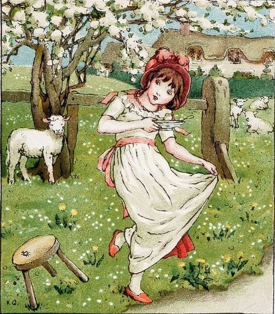 Kate Greenaway Style: based on illustrations by Kate Greenaway, an Aesthetic movement illustrator of children's books who showed little girls in dresses derived from Empire styles