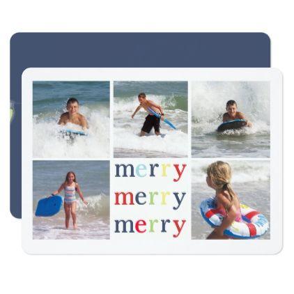 Dark blue Christmas Lights Multi Photo Card - holidays diy custom