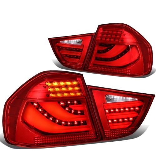 For 2009 To 2011 Bmw 323i 325i 328i 335d E90 Lci 4dr Sedan Red Housing 3d Led Bar Tail Light Brake Lamps Lh Rh Bmw 323i Bmw Sedan