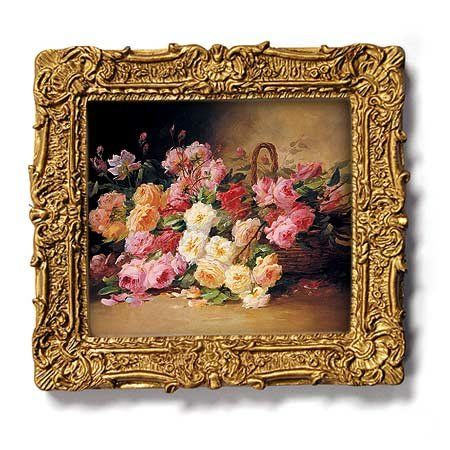Basket Of Roses Gold Frame Magnet With Pop Out Easel 2 3