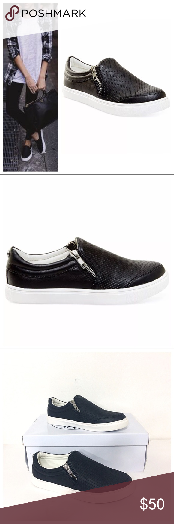 """NWT Steve Madden Ellias Black Slip On Zip Sneakers Brand new in Box Steve Madden """"Ellias"""" Perforated Woman's Slip-On Sneaker in black. Size 6 M but fits like 5.5 M  A perforated upper and twin exposed zippers lend edgy, street-chic style to a slip-on sneaker that instantly updates your casual wardrobe.  Round closed-toe slip-on flat sneakers Zipper closure at side instep; perforated details at upper Manmade upper; rubber sole Retailed for $69.00 Steve Madden Shoes Sneakers"""