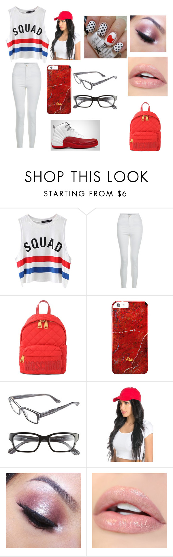 """""""Your Sqaud Outfit"""" by jaden-norman ❤ liked on Polyvore featuring Chicnova Fashion, New Look, Moschino, Corinne McCormack and Too Faced Cosmetics"""