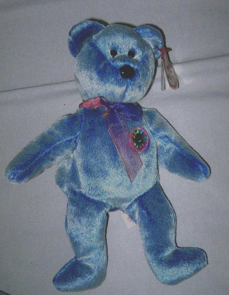 Ty Beanie Baby Periwinkle Bear 2000 Near Mint Beanie