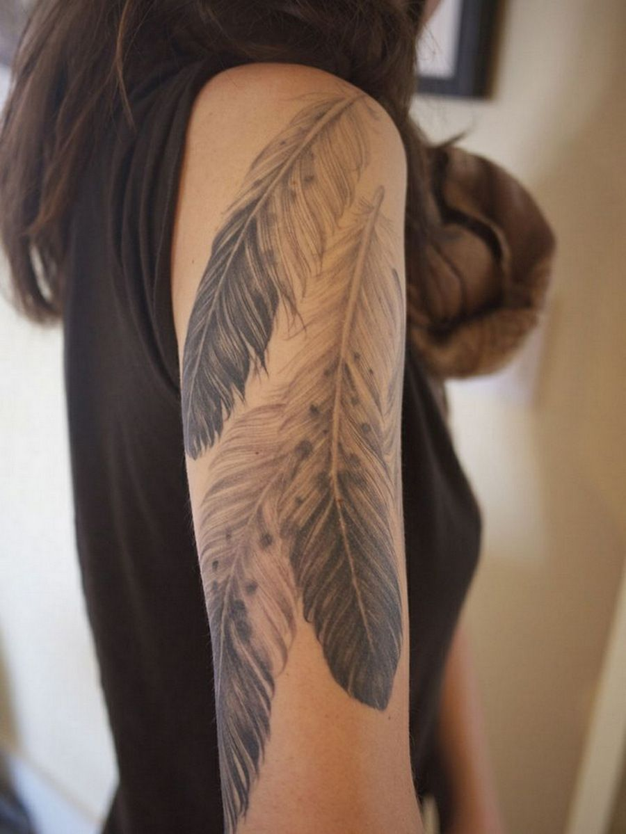 Faded Feather Tattoo Girls With Sleeve Tattoos