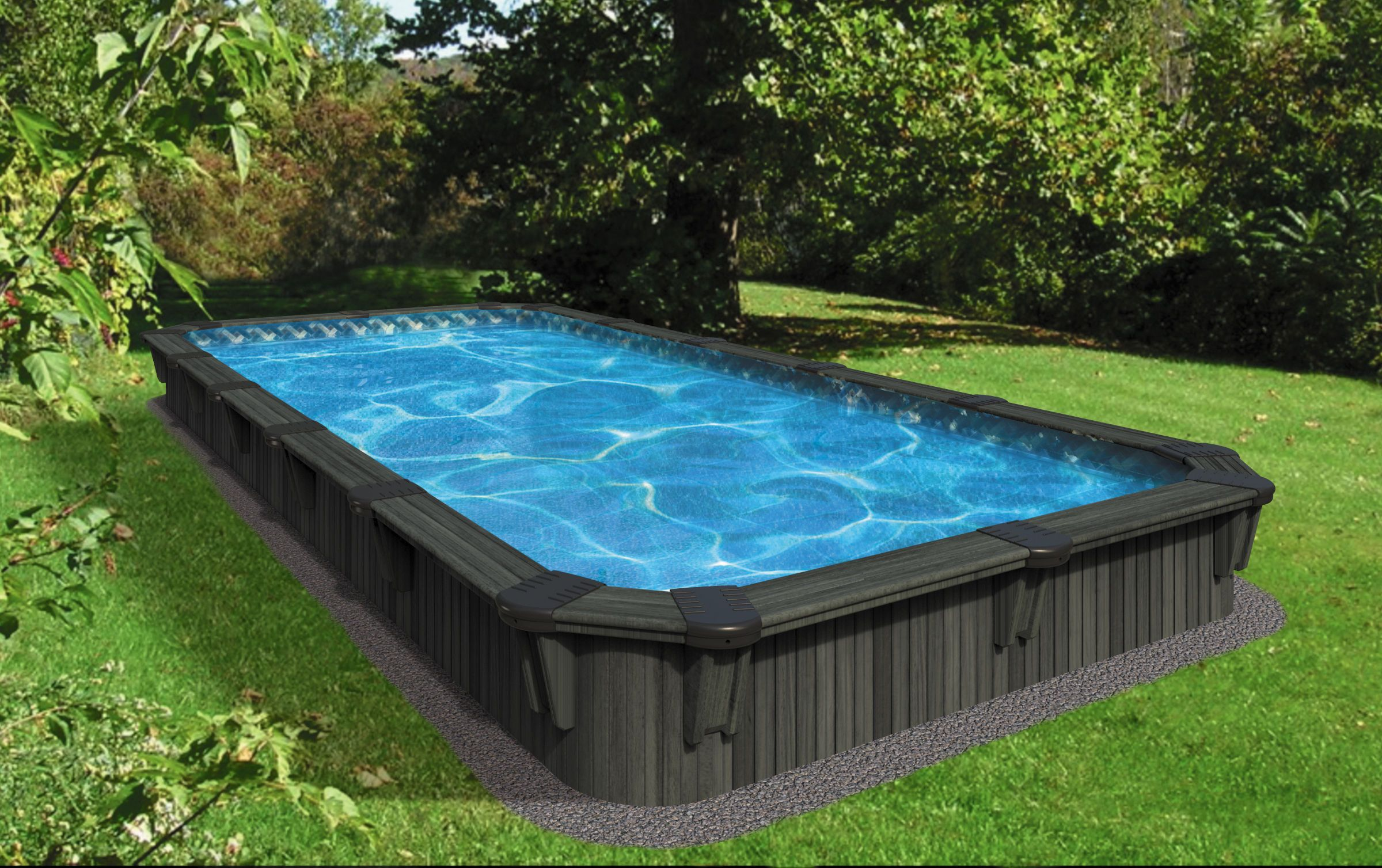 This new rectangular pool sleek whit welldefined lines