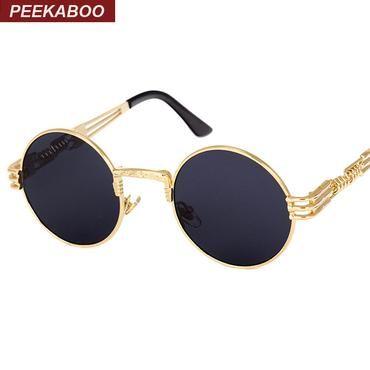 04f6c39f61 Peekaboo vintage retro gothic steampunk mirror sunglasses gold and black  sun glasses vintage round circle men