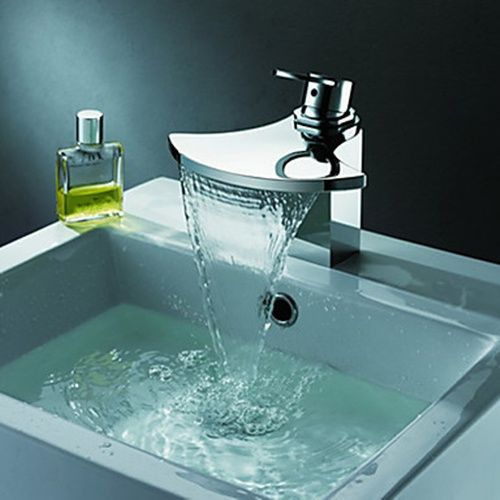 Delightful Contemporary Chrome Finish Single Handle Waterfall Bathroom Sink Faucet    FaucetSuperDeal.com