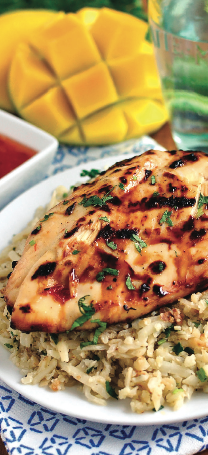 Sweet Chili Conconut-Lime Grilled Chicken with Cauliflower Rice! Catch the recipe below! http://www.wellmark.com/blue/recipes/zm_sweetchiliconconutlimechicken.html