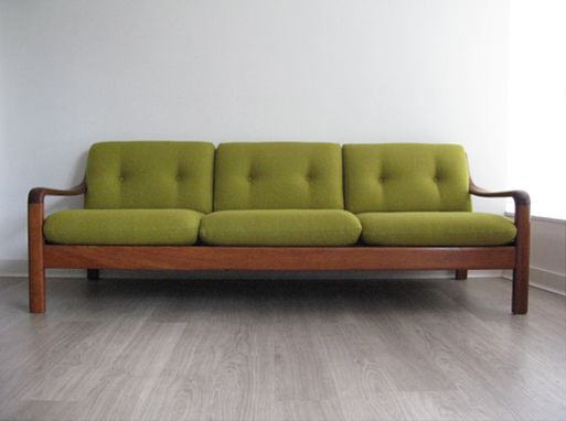 new danish furniture. a danish teak 3 seater sofa reupholstered with bute wool fabric new webbing furniture