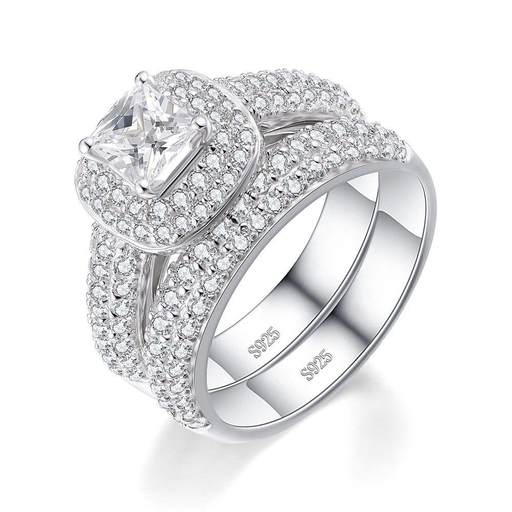 Princess Cut White Sapphire Sterling Silver Women's Bridal