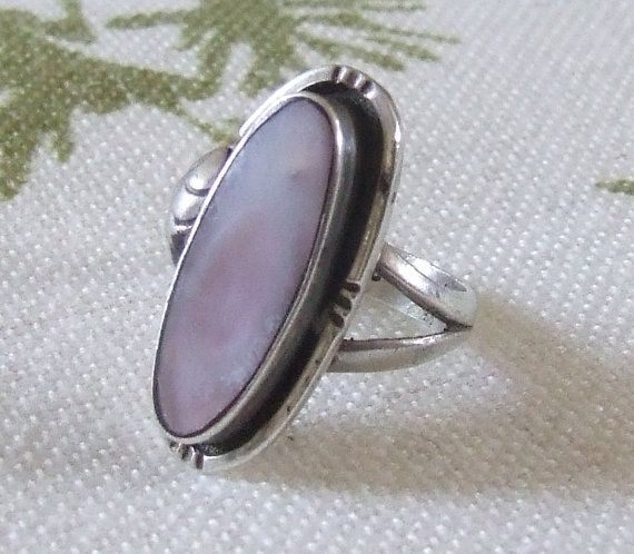 Vintage Sterling Silver Mother Of Pearl Inlay Ring by GemsGoneBy, £23.00 $40