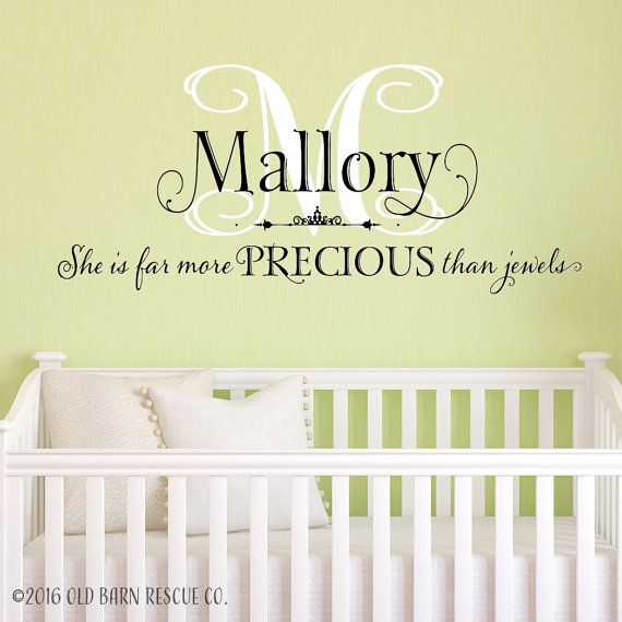 Personalized She Is Far More Precious Than Jewels I LOVE LOVE - Monogram wall decal for nursery
