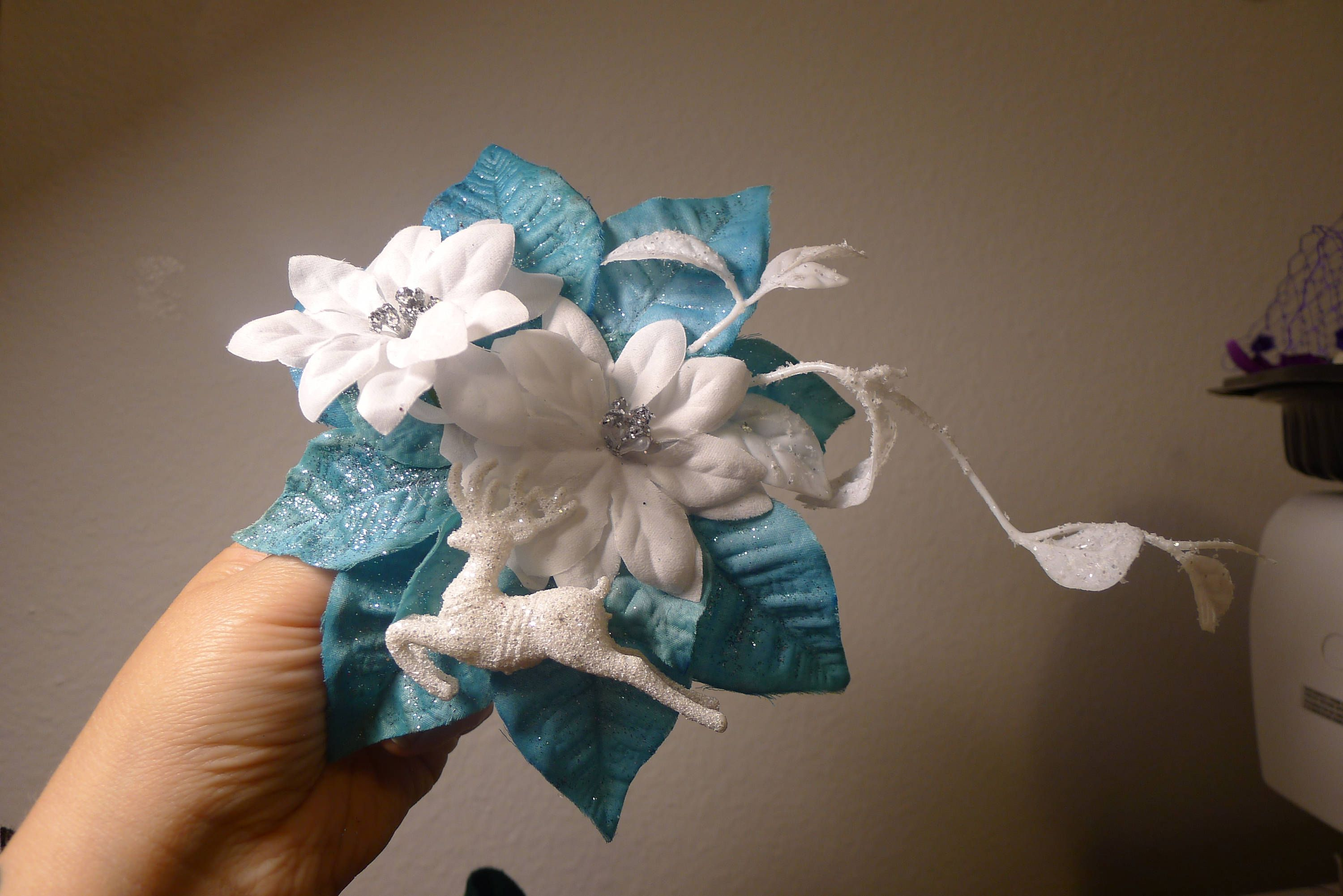 Blue Poinsettia Flower Hair Clip Snow Christmas Holiday Winter