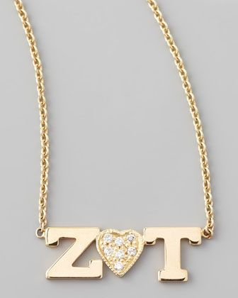 Zoë Chicco Two-Letter Pendant Necklace with Diamond