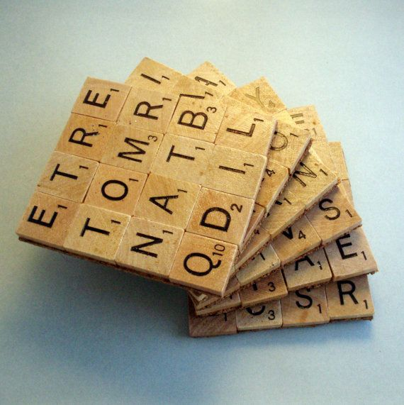 Scrabble Coasters Set of 6: Cool coasters for the person who loves to play with words. $22 #GiftGuide #TheCopywriterandContentStrategist #OliveGiftGuide #2015HolidayGiftGuide