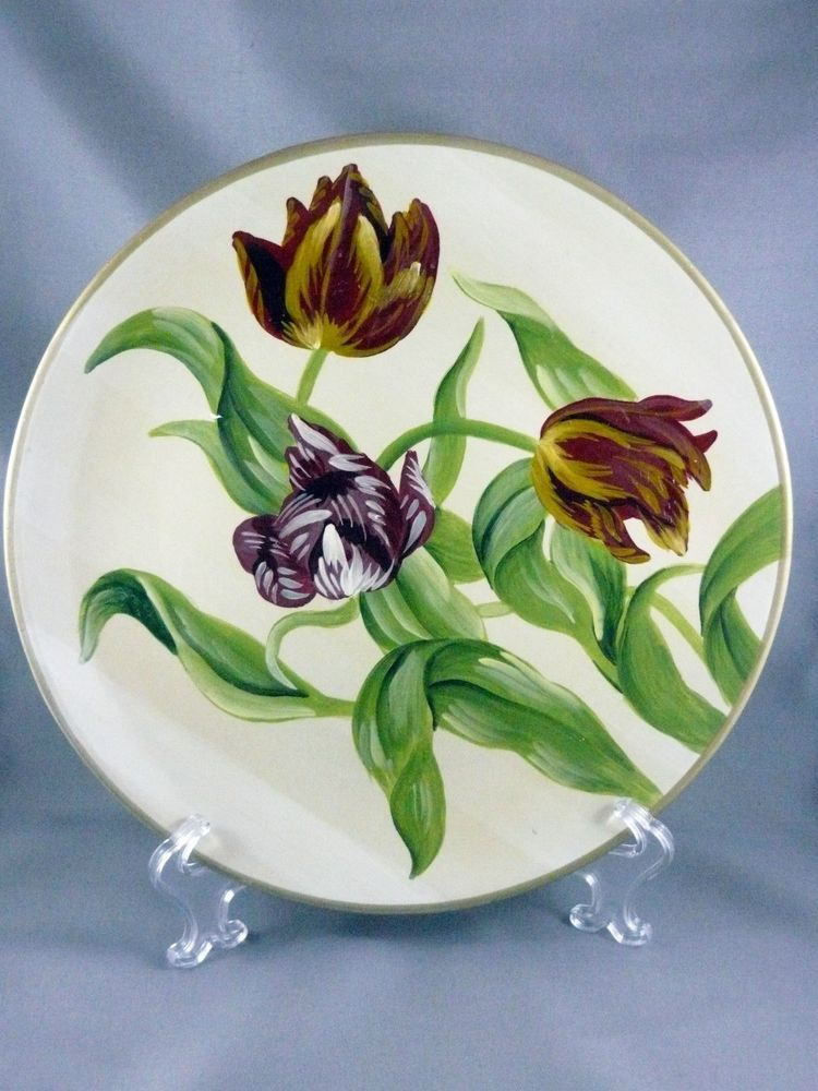 Purple Tulip Decorative Wall Plate Hand Painted White Flowers ...
