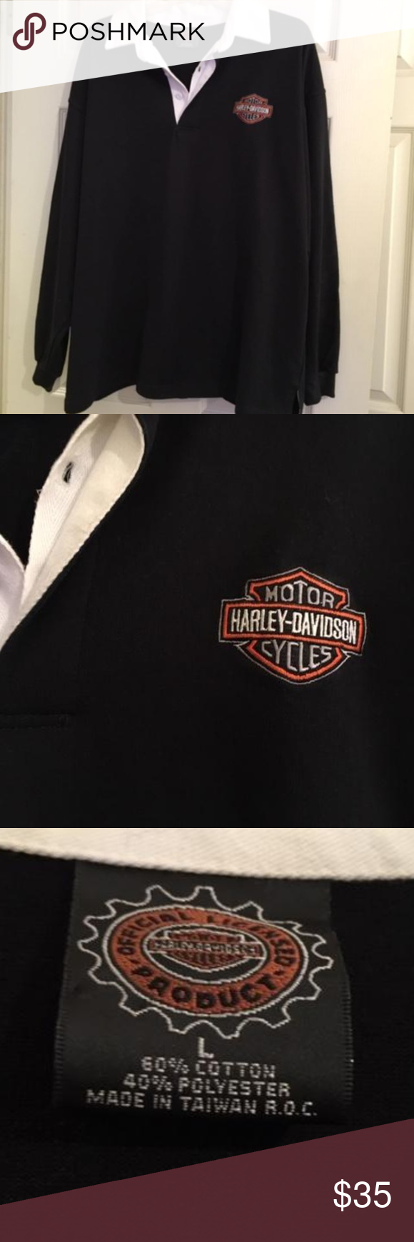 Harley Davidson Rugby Shirt Black Long Sleeved White Collar