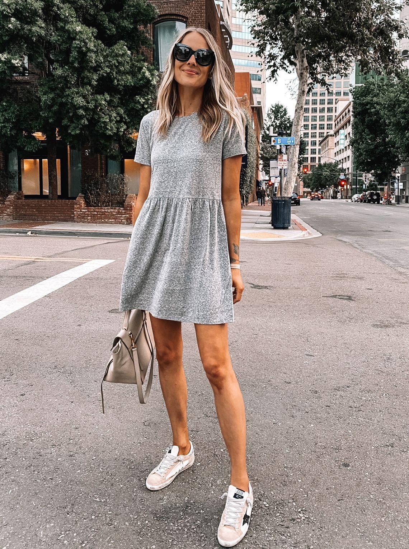 Casual Grey T Shirt Dress Fashion Jackson Fashion Jackson Dress And Sneakers Outfit Grey T Shirt Dress [ 1530 x 1140 Pixel ]