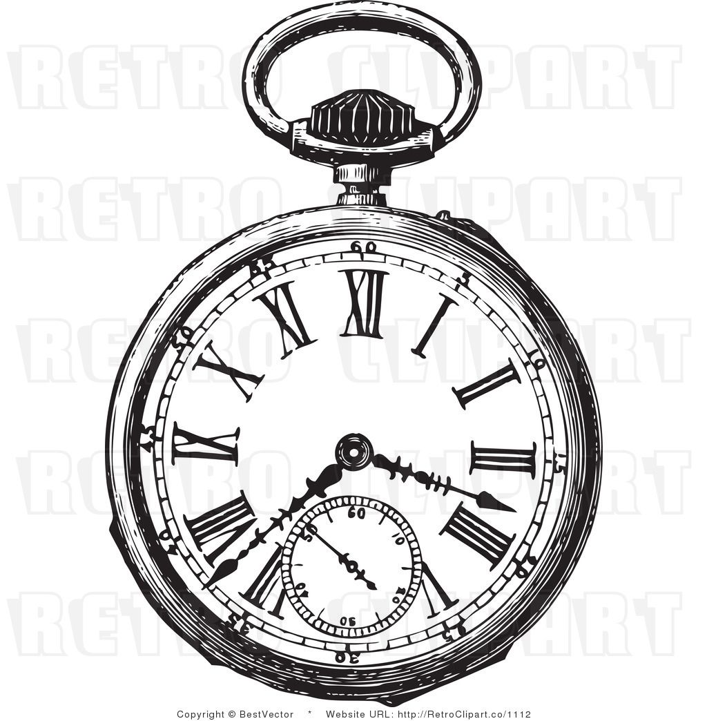 Taschenuhr clipart kostenlos  Royalty Free Black and White Retro Vector Clip Art of a Pocket ...