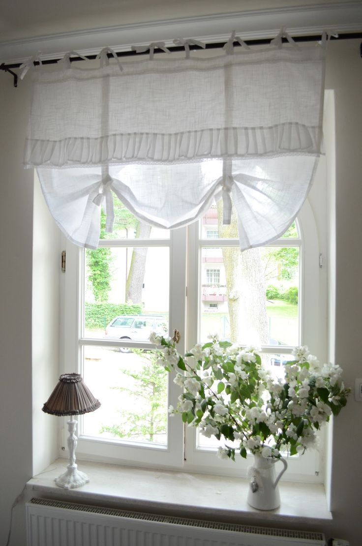 amazing cottage style windows with fancy window treatment of white curtain  drapery plus white wood material