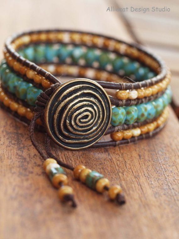 Beaded Leather Wrap Bracelet Triple Row Boho Turquoise And Sandstone 6 7 Inch