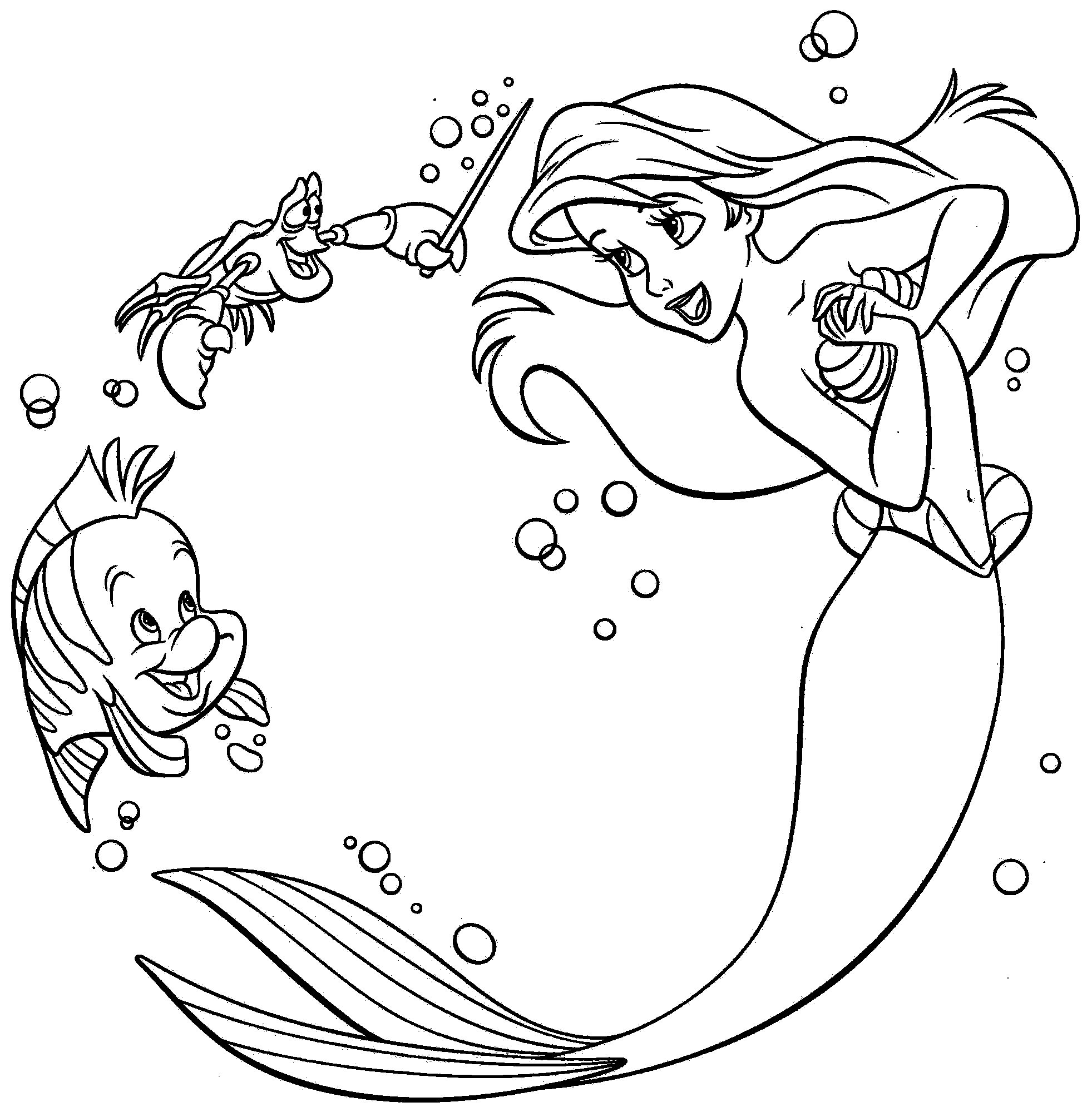 Free coloring pictures of mermaids - Ariel Playing With Sebastian Mermaid Coloringthe