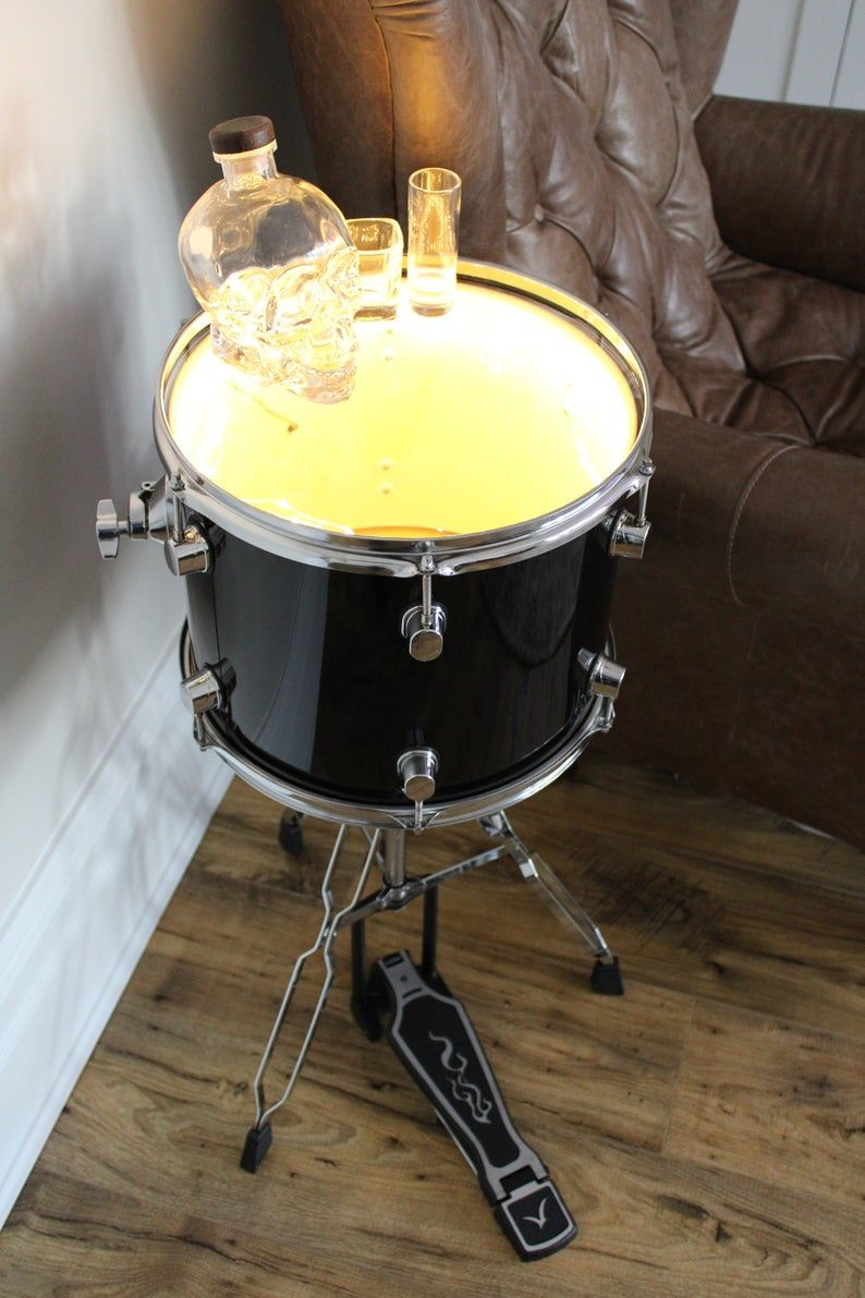 Drum Glass End Table Cool Bedside Table With Lighting A Funky