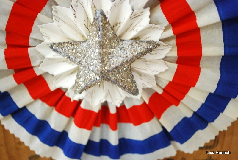 Fourth of July German glass glittered star wheel made from Dennison's original early 1900's red, white and blue gorgeous crepe paper! Artist: Lisa Hannah