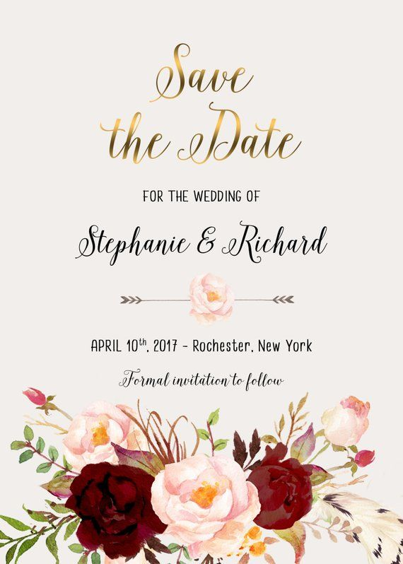 Save the Date Printable Floral Digital Wedding Marsala Burgundy - Formal Invitation Letters