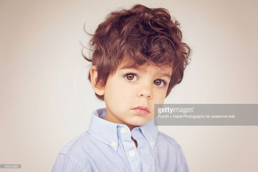 Stock Photo Brown Eyed Boy With Curly Hair Brown Hair Boy