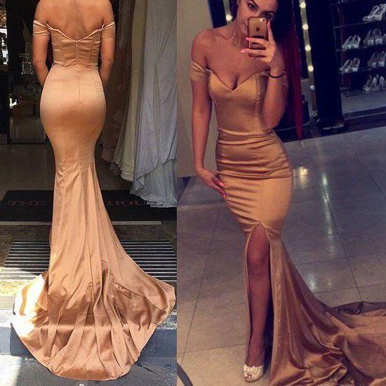 Elegant Long Prom/Evening Dress - Dark Champagne Mermaid Off Shoulder
