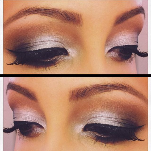 Silver Smokey eyes. Tip: try using. Warmer crease color when using cool toned shadows to make your eye makeup pop!