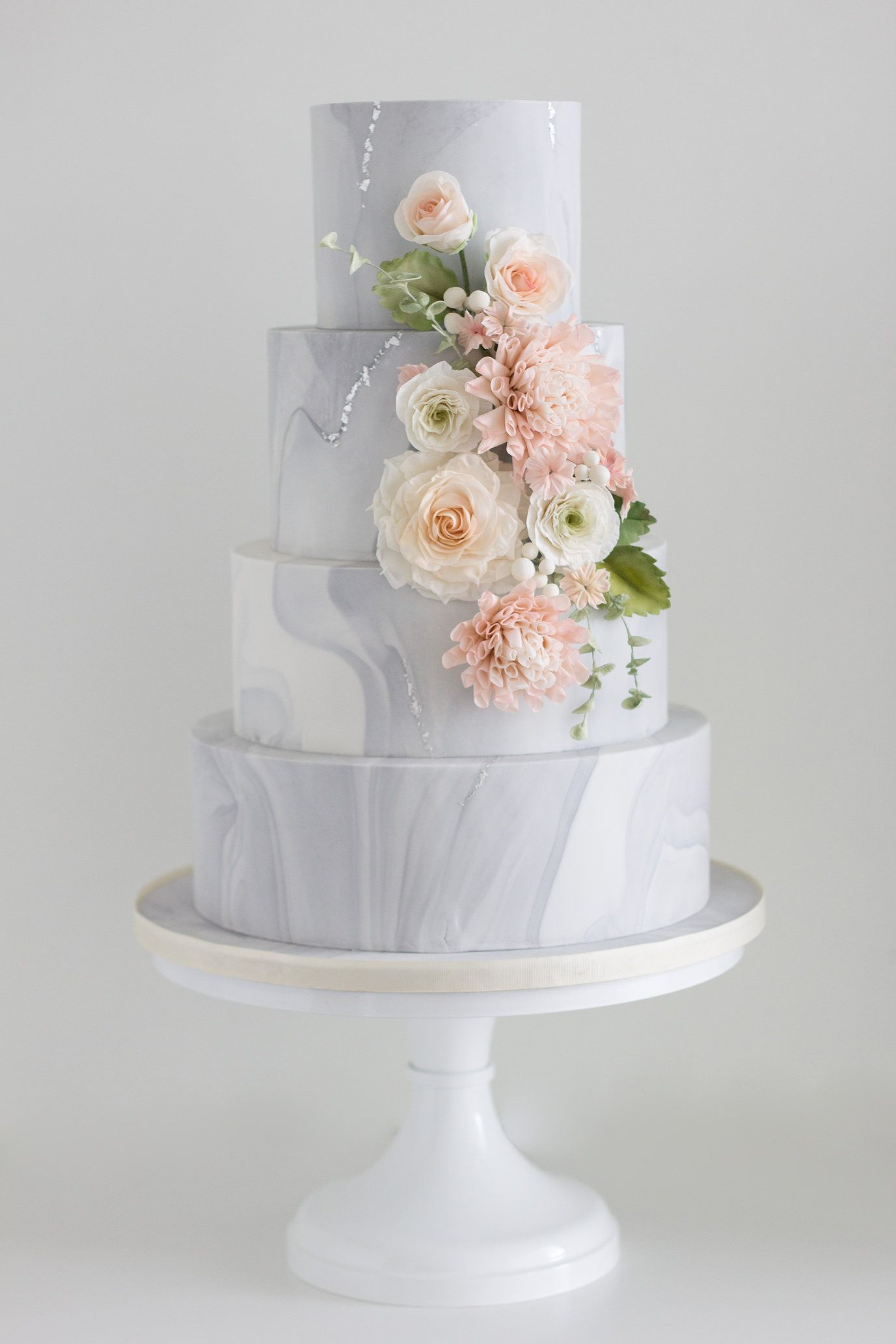 Image result for marble and flowers wedding cake