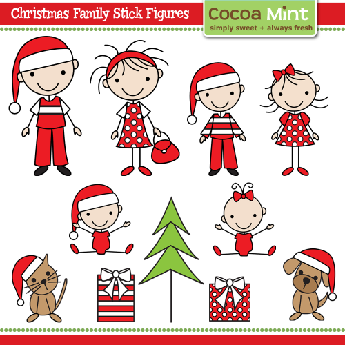 COCOA MINT Christmas family stick figures | Cooking & food ...