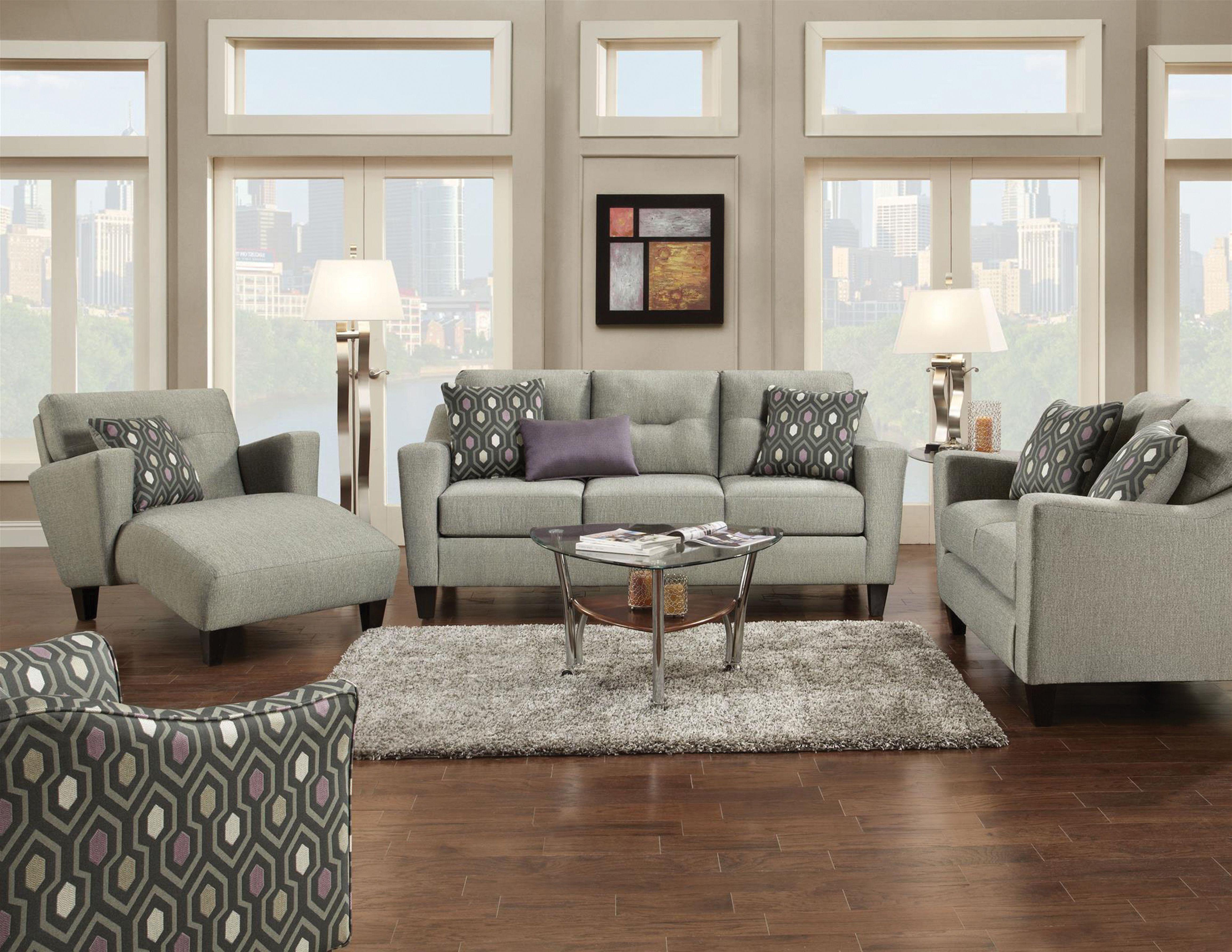 Fusion Living Room Decade Graphite Sofa 046132 Furniture
