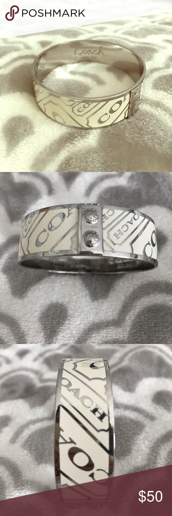 Coach bangle bracelet Enamel and sterling off-white bangle bracelet ! Cute and in great condition. 100% authentic. Slip on. Coach Jewelry Bracelets