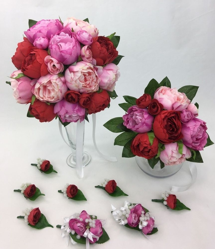 Redpinkhot Pink Peony Artificial Silk Flowers Wedding Bouquet Set