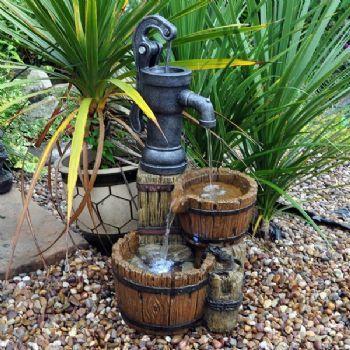 Twin Barrel and Hand Pump Garden Water Feature