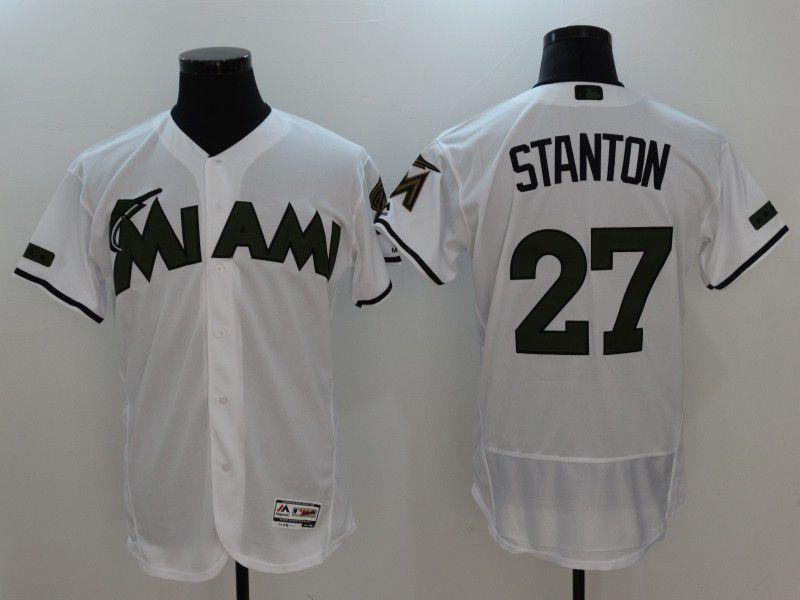 2017 Men MLB Florida Marlins 27 Stanton White Elite Commemorative Edition  Jerseys db91a1070