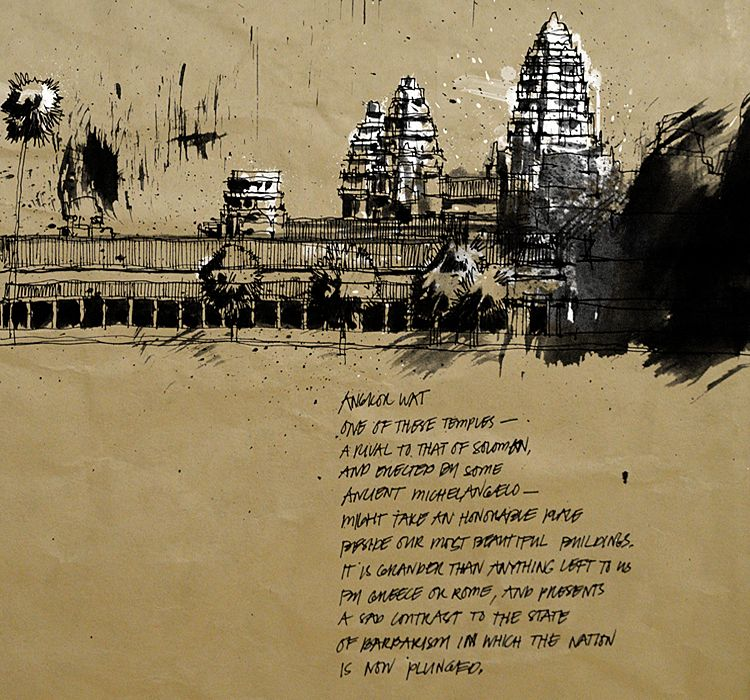 Angkor Wat I, Ink on paper, 2014 #angkor #wat #angkorwat #siem #reap #siemreap #cambodia #khmer #temple #architecture #ink #brush #drawing #painting #art