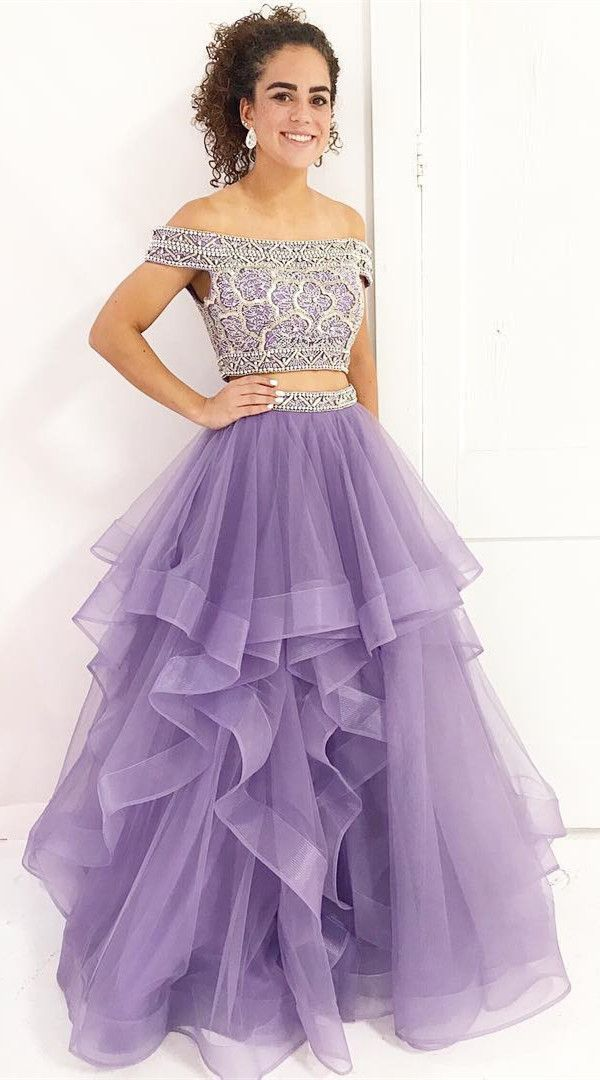 sparkly two piece long prom dress, 2018 lavender long prom dress ...