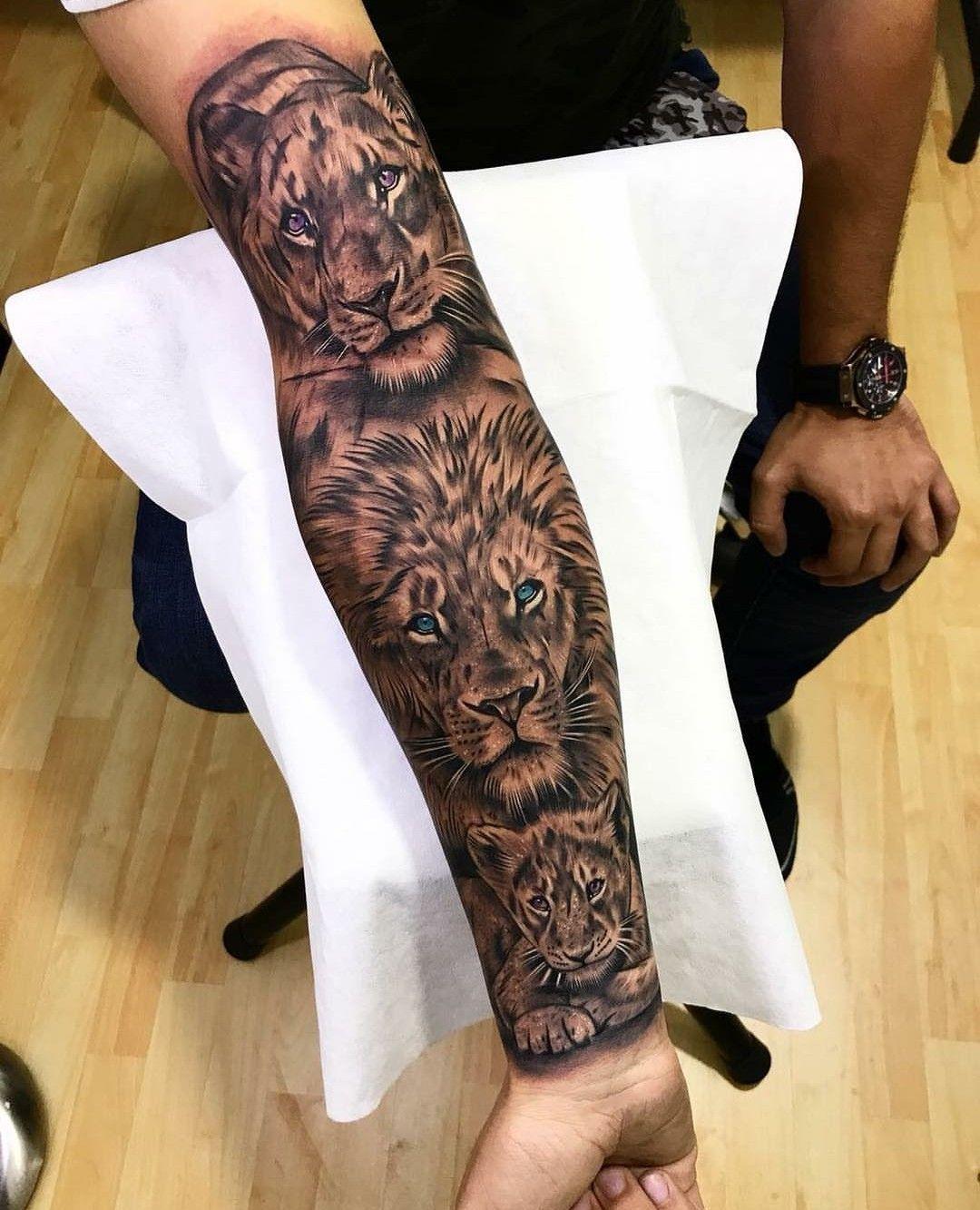 Leon family tattoo CoolTattooLife Lion forearm tattoos