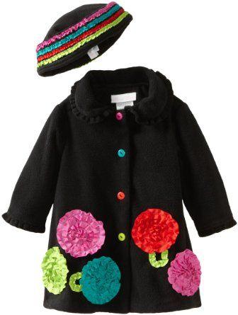 Bonnie Baby-girls Newborn Fleece Coat And Hat Set