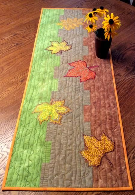 Advanced Embroidery Designs Fall Themed Table Runner With Autumn Leaves