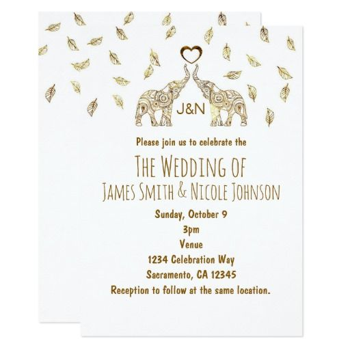 Two Elephants Heart Gold Fall Wedding Invitation Weddings