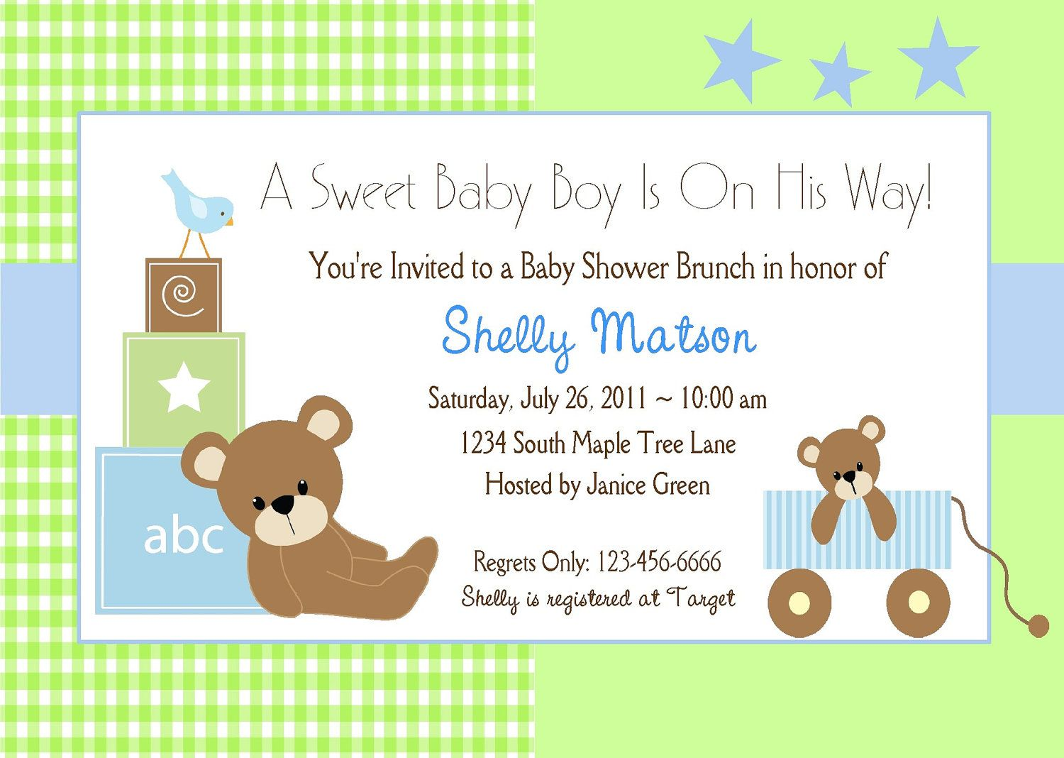 BABY SHOWER INVITATION for Boy / Cute Blue and Green Teddy Bear ...