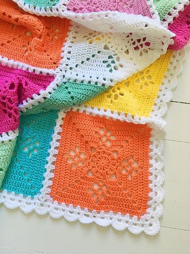 Victorian lace square blanket...free pattern for square,joining and ...