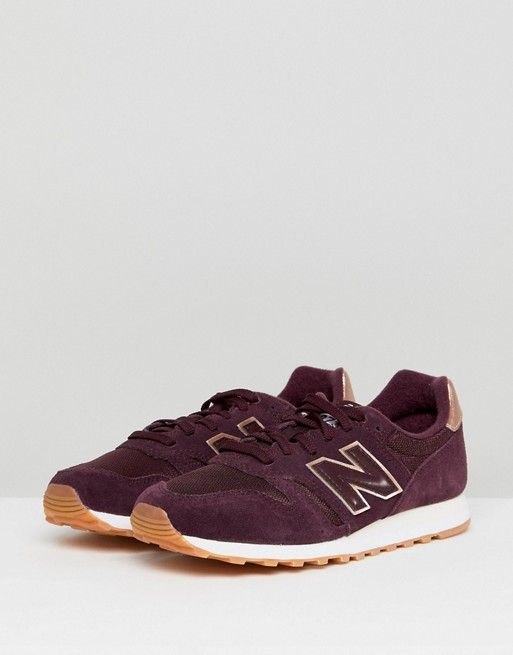 new balance 373 burgundy and gold trainers